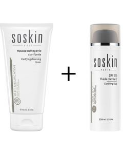 Soskin Brighter Skin Set κατά της Υπερμελάγχρωσης Clarifying Cleansing Foam 150ml Αφρώδης Κρέμα Καθαρισμού & Clarifying Fluid SPF25 50ml Αντηλιακή Κρέμα Ημέρας