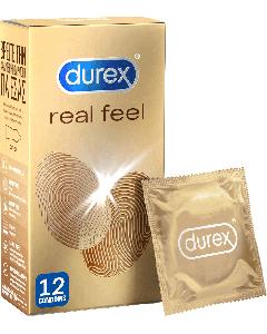 Durex Real Feel Latex Free Condoms 12 Τεμάχια Προφυλακτικά Πολύ Λεπτά Χωρίς Λάτεξ