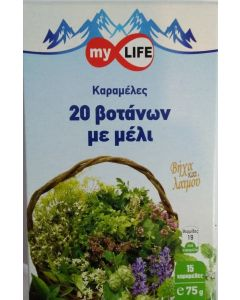 My Life Καραμέλες Υγείας, Βήχα & Λαιμού 75gr Καραμέλες 20 Βοτάνων με Μέλι