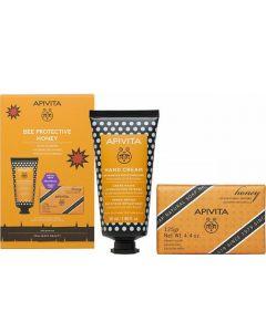 Apivita Set Bee Protective Honey Ενυδατική Κρέμα Χεριών με Υαλουρονικό Οξύ - Μέλι 50ml & Δώρο Φυσικό Σαπούνι με Μέλι 125gr