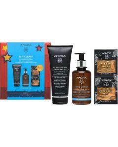 Apivita Promo Is It Clear? Μαύρο Gel Καθαρισμού Προσώπου 150ml & Καταπραϋντική Ενυδατική Λοσιόν Προσώπου 200ml & Express Beauty Scrub Προσώπου Βερύκοκο 2x8ml