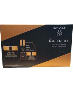 Apivita Queen Bee Age Defence Πακέτο Προσφοράς Night Cream 50ml & Δώρο Αντιγηραντικός Ορός 10ml & Δώρο Κρέμα Ημέρας Ελαφριάς Υφής 15ml