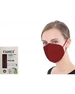 Famex FFP2 Μπορντώ 10τμχ Μάσκα Προστασίας