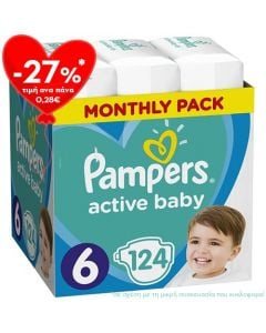 Pampers Active Baby Giant Pack No6 (13 - 18kg) 124