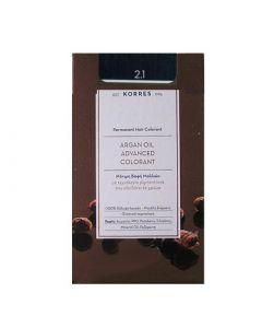 Korres Argan Oil Advanced Colorant 50ml Μόνιμη Βαφή Μαλλιών 2.1 Μαύρο Μπλε