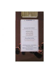Korres Argan Oil Advanced Colorant 50ml Μόνιμη Βαφή Μαλλιών 8.1 Ξανθό Ανοιχτό Σαντρέ