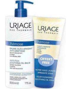 Uriage Xemose Anti-itch Soothing Oil Balm 500ml Βάλσαμο, Έλαιο κατά του Κνησμού + Huile Lavante Apaisante 200ml Λάδι Καθαρισμού Προσώπου - Σώματος Για Ξηρό Δέρμα